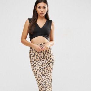 ASOS Scuba Pencil Skirt in Leopard Print